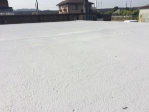 屋上にはポリマーセメント防水材を塗装。凹凸がある部位にも対応可能で、つなぎ目がなく美観にも優れた塗料です。 塗装前には、高圧洗浄で表面のコケや汚れを洗い流し、下地を整えました。欠損部分もセメントで補修しています。